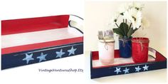 Wood serving tray painted in red, white, blue US flag theme at #VintageVenturesShop #Etsy to buy click image #MemorialDay #SummerHoliday #IndependenceDay #July4th #Patriotic #Americana #CountryDecor #USflag #RedWhiteBlue #Military #MilitaryPride #BackYardBBQ #RusticDecor #OldGlory #Handmade #ServingTray #Centerpiece