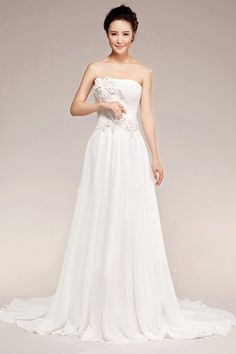 A-line Strapless Natural Court Train Sleeveless Flowers Lace-up Chiffon