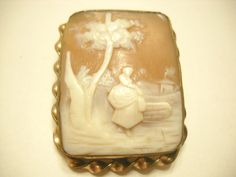 Victorian Hand Carved Shell SCENIC CAMEO by Retiredhungarian, $145.00
