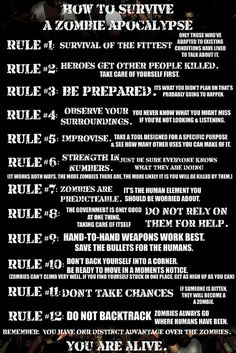12 Rules: How To Survive A Zombie Apocalypse hahaha.too funny.for all my zombie friends out there! Zombie Survival Guide, Survival Prepping, Emergency Preparedness, Survival Skills, Zombies Survival, Survival Food, Survival Stuff, Wilderness Survival, Survival Videos