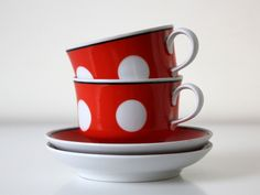 Great gift for cooks. Vintage Mugs & Cups – Back in USSR kitchen, polka dot tea or coffee set – a unique product by agafrog via en.DaWanda.com #red #white