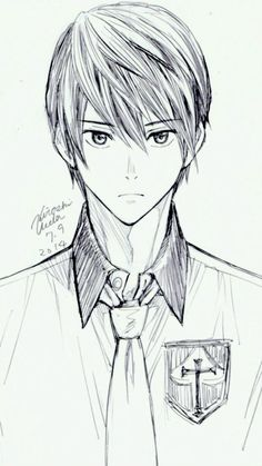 If this is Light Yagami why does it look like Haru Nanase?<<I think it's Haru, the school badges are the Iwatobi ones