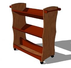 Sketch of the Day: Library Cart Library Themes, Library Design, Library Cart, Bookshelves, Bookcase, Wood Book, Small Furniture, Woodworking, Cabinet