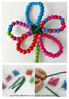 Bead flowers.  Cut 3 pipe cleaners in half.  Bead 5 of them for petals and one for stem.  Twist together in center