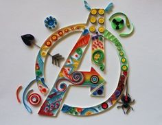 tripperfunsters: Avengers Paper Quilling V - Quilling Paper Crafts Quilling Letters, Paper Quilling Cards, Quilling Work, Paper Quilling Patterns, Quilled Paper Art, Quilling Paper Craft, Paper Crafts, Quilling Ideas, Quilling Tutorial