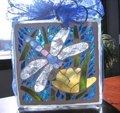 dragonfly mosaic art | Dragonfly With Flower Lighted Glass Block mosaic, garden decoration ...