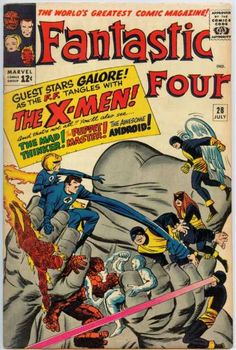 Fantastic Four #28 featuring The Original X-men - The Awesome Android - The Puppet Master - The Mad Thinker by Stan Lee and Jack Kirby.