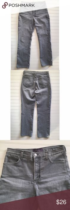 "Gray NYDJ Not Your Daughters Jeans cropped size 10 Love These jeans! Flattering cut and fit to help that booty!! These are women's size 10. They measure 14.5"" across the top, they're super stretchy, they have a 10.5"" rise, and a 28"" inseam. Ankle cropped pants. NYDJ Jeans Ankle & Cropped"