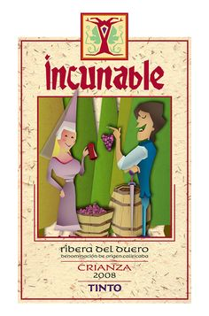 Label for Incunable Wine by Daniel del Ama, via Behance