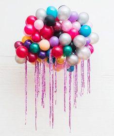This joyful rainbow coloured balloon cloud design by UAL alumna Bon Bon Balloons is setting the mood Balloon Clouds, Balloon Backdrop, Love Balloon, Balloon Garland, Balloon Decorations, Birthday Party Decorations, Glitter Ballons, Helium Balloons, Glitter Party