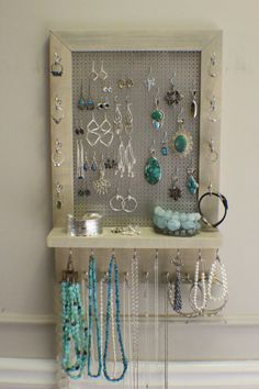 Sun Bleached and Chrome Wall Mounted Jewelry Organizer, Wall Organizer, Jewelry Display, Necklace Holder, Earring Organizer