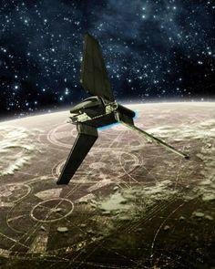 Lambda-class shuttle over Coruscant /by ??  #StarWars #art
