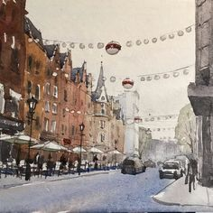 As its now December... sketch of the Christmas decorations on James Street in Mayfair.  #watercolour #london #mayfair #sketchbook #urbansketchers #painting