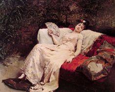 La modelo Aline Masson, con mantilla blanca, de Raimundo de Madrazo.
