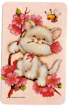 vintage SWAP CARDs 1970s blank back CUTE cat kitten with a bumble bee  blossom