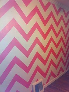 Pink Painted Chevron Wall perfect for a girl room Pink Chevron Walls, Paint Chevron, Chevron Wallpaper, Wall Wallpaper, My New Room, My Room, Girls Bedroom, Bedroom Ideas, Bedrooms