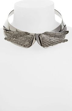 Free shipping and returns on Leith 'Wings' Collar Necklace at Nordstrom.com. Crystal-studded wings flare at the front of a rocker-glam collar necklace in polished chrome.