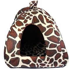 5-Sizes Portable Foldable Luxury Soft Sponge Strawberry Pet Dog Cat Tent House Kennel Doggy Puppy Cushion Pad Bed Nest (L, Leopard) * Visit the image link more details.