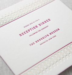 Kensington letterpress and foil reception dinner invitation by @Dauphine Press in fuchsia & metallic gold foil