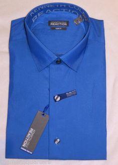 Mens Kenneth Cole Reaction Royal Blue Iridecent Slim Fit Wrinkle Fre Dress Shirt | eBay