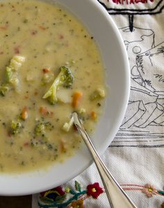 Homemade broccoli cheese soup bursting with lots of tender veggies. Full of flavor without the cream.