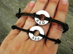 His and Hers, matching stamped bracelets, Small Aluminum Disk with Stamped initials and adjustable BROWN cord