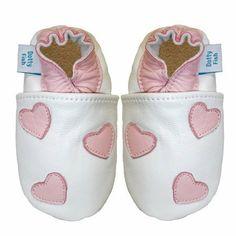 Dotty Fish - Dotty Fish Acogedoras Y Suaves Zapatos De Gamuza Para Bebé Con Suela De Gamuza Diseño De Corazones - Talla : 6-12 Meses - Color : Blancos Y Rosas de Dotty Fish, http://www.amazon.es/dp/B00C2O8536/ref=cm_sw_r_pi_dp_gBwhsb0RJ3ZPF