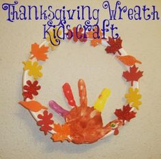 Hand print Turkey Art, Thanksgiving Wreath Kids Craft