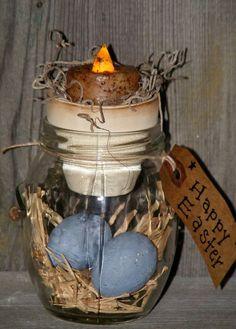 Primitive Easter Decor with led Tealite   LED, Easter ...