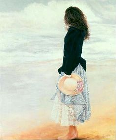 SUSAN RIOS painting.  I love this dark jacket with the light skirt