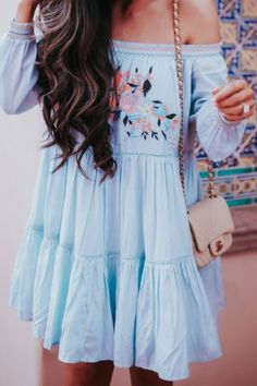 Short Blue Embroidered Dress for Summer and Spring Season. Emily Gemma Sun sun dresses plus size sun dresses with sleeves sundress outfits sundresses dresses sundresses for weddings dresses sundresses Wedding Invitations Trends 2019 Trendy Summer Outfits, Spring Outfits, Cute Outfits, Summer Dresses, Dress Outfits, Ladies Outfits, Spring Clothes, Fashionable Outfits, Casual Summer