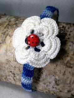 Diadema con flores de colores hecha a mano de ganchillo en algodón 100% con adornos Ideal para primavera, verano, comunión, boda, fiesta. by MerysThings on Etsy