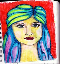 Blue lady - ink sketch