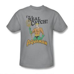 Aquaman Real Catch Adult Silver T-Shirt