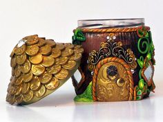 Fairy House: Miniature Golden Jar House by MiniWhimsies on Etsy