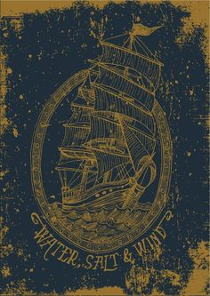 design, ship, traditional tattoo, style, drawing, colour, illustration, typography