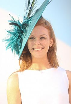 Love this color! Blue fascinator.