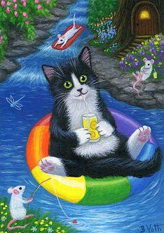 Tuxedo cat kitten mice pond lemonade summer original aceo painting art #Realism by Bridget Voth Ebay ID star-filled-sky