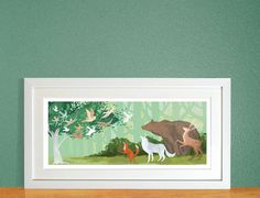 High quality art print on slightly textured 300gsm Acid free watercolour paper stock. Inspired by the Grimm's Fairytale 'The Wren and The Bear'.Size 100mm x 210mm Hand signed in pencil by the artist, Emmeline Pidgen. Please note print not supplied...