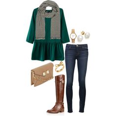 """""""hunter green and hounds tooth"""" by the-southern-prep on Polyvore"""