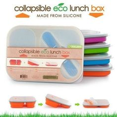 Smart Planet EC-34 Large 3-Compartment Eco Silicone Collapsible Meal Kit
