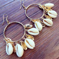 Fashion Women Bohemian Style Cowary Shell Big Circle Drop Earrings High Quality Man-made Ivory Shell Dangle Earrings - Fashion Shell Earrings, Circle Earrings, Tassel Earrings, Women's Earrings, Multiple Earrings, Tassel Jewelry, Jewellery, Seashell Jewelry, Beach Jewelry