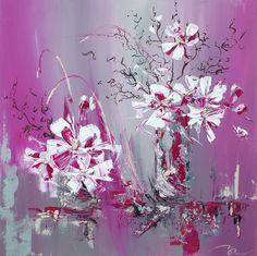 Orchydée toile abstraite acrylique 80x80 cm - Artiste Michael Aksamit : Peintures par madesign