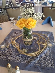 Rustic western themed center piece                                                                                                                                                                                 More
