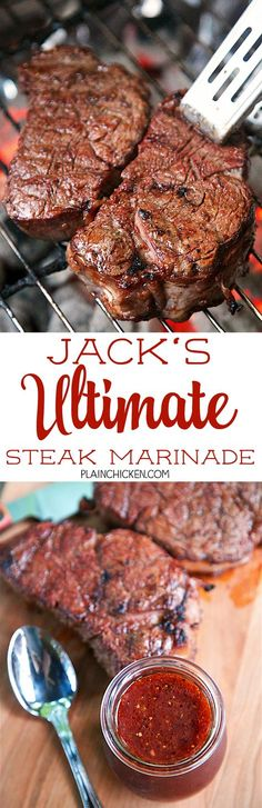 Jack's Ultimate Steak Marinade - steaks marinated in red wine chili sauce red wine vinegar Worcestershire sauce onion garlic salt pepper and a bay leaf. This marinade is seriously delicious! Our new go-to marinade. TONS of great flavor! Steak Recipes, Grilling Recipes, Cooking Recipes, Game Recipes, Cooking Corn, Chicken Recipes, Sauce Chili, Red Sauce, Marinade Sauce
