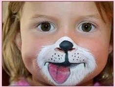 Puppy Party face painting for kids tutorials Puppy Face Paint, Dog Face Paints, Bear Face Paint, Rosto Halloween, Halloween Face, Halloween Costumes, Easy Halloween, Halloween Makeup, Special Effects Makeup