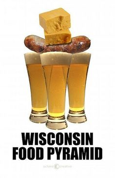 Rep. Paul Ryan (R), running as Mitt Romney's 2012 VP, said in his Wisconsin rally on 8/13/12, that his veins contain:  Cheese, Brats and a little Wisconsin Beer.   As you can see by this image, he follows the Wisconsin Food Pyramid.  lol  #politics #wi #usa