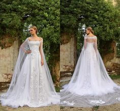 Lastest Design Wedding Dresses 2016 Summer White Lace Train Applique Bridal Ball Gowns With Tulle Long Cape Wrap Bride Dresses Custom Online with $112.89/Piece on Hjklp88's Store | DHgate.com
