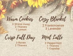Diffuser blends you can make with your Young Living Starter Kit Oils Fall Essential Oils, Essential Oil Diffuser Blends, Essential Oil Uses, Natural Essential Oils, Essential Oils For Christmas, Raven Essential Oil, Aromatherapy Oils, Yl Oils, Doterra Oils