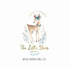 deer logo doe logo watercolor logo baby shop logo
